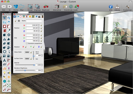 Interiors pro features 3d interiors design modeling software for your mac microspot ltd for Interior decorating software free